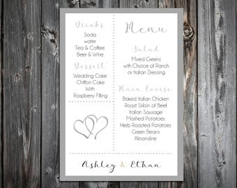 100 Hearts Wedding Menu Cards - Dinner Menus