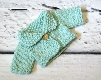Hand Knit Wool Cardigan for Piccolinas and Other 8-9 Inch Dolls