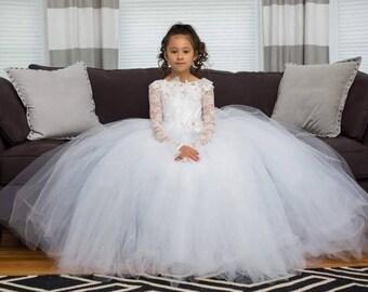 White lace flower girl dress, first communion dress