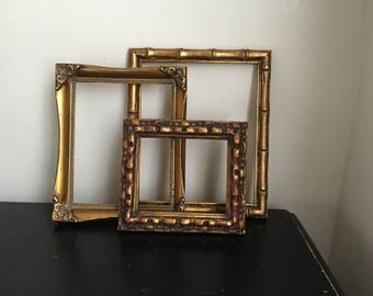 gorgeous set of 3 ornate empty wall frames vintage baroque relic chunky wood gesso - Etsy Picture Frames