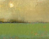 Original Oil Painting Landscape Painting Abstract by John Shanabrook - 5 x 7 - Water Meadow and Moon