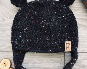 Ready to Ship - Crochet Baby Bear Hat with earflaps - 3-6 Month Size