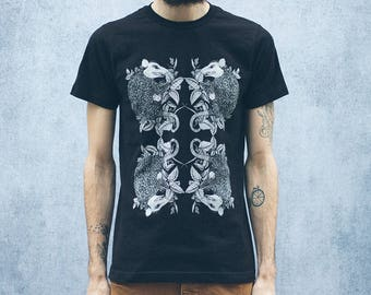 Entangled Possum and Stinging Nettle Black T-Shirt