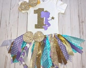 Custom Order-Mermaid 3 Piece Complete Fabric Tutu Outfit And 3' Feet Matching Banner
