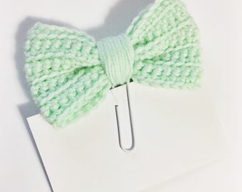 Light Pastel Mint Green Crochet Bow Planner Clip Clippie Planner ECLP Happy Planner Filofax