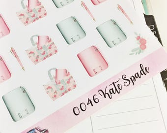 0046 Mint and Pink Planners Purse Glitter Pen Sheet of Stickers Planner Stickers Erin Condren Life Planner Happy Planner Accessories