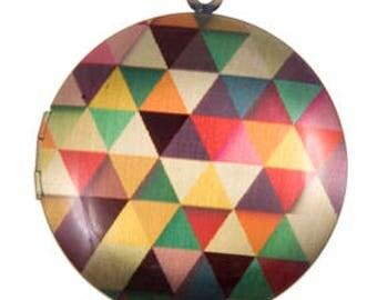 Geometric Triangles Locket, Brass -33mm