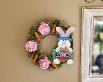 ON SALE 50% OFF Easter Bunny Wreath Carrot Wreath Spring Wreath Spring Welcome Wreath Spring Hydrangea Wreath Rustic Grapevine Door Wreath S