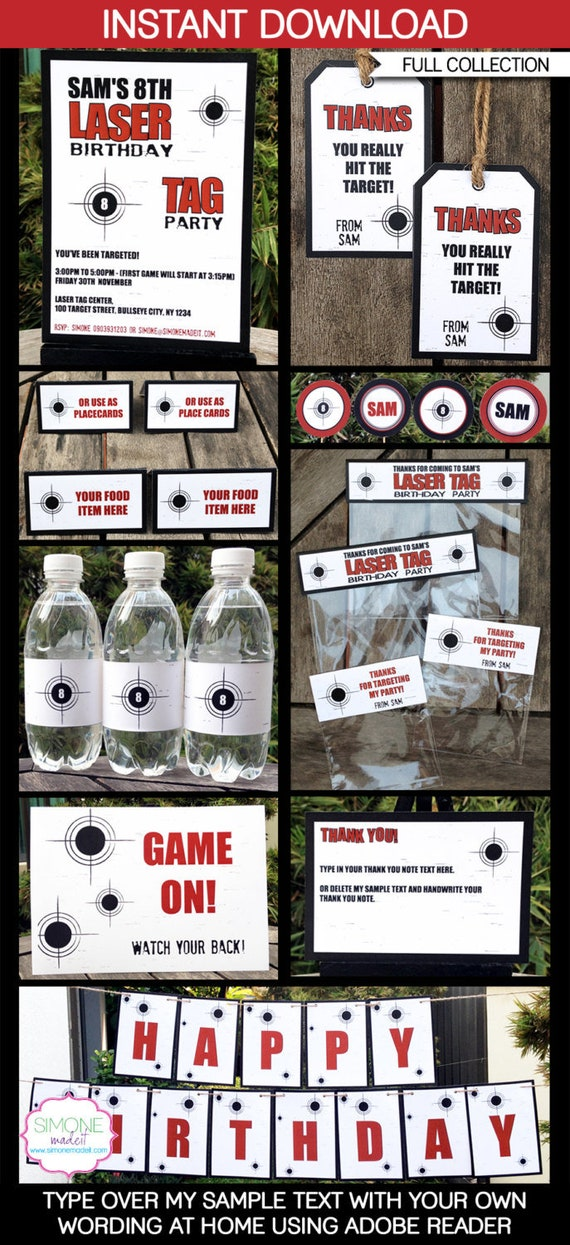 Laser Tag Party Invitations & Decorations - full Printable Package ...