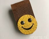 Earbuds / earphone / cable organizer/ cord holder Smiley in brown and yellow veg tanned bridle leather.  Christmas gift under 10