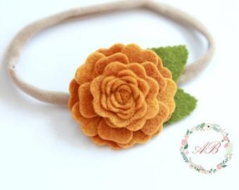 Fall Flower Headband - Mustard Flower Headband - Baby Flower Headband - Felt Flower Headband - Baby Mustard Headband