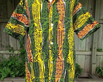 vintage 50s tiki tribal hawaiian shirt c42 cabana style pockets cabana shirt free shipping