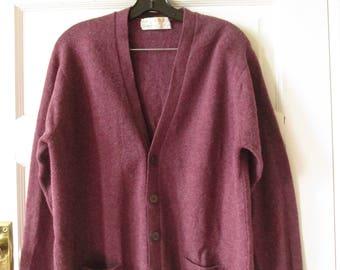 MEN'S Sam Barker Lambswool Cardigan Sweater Made in Scotland M - L