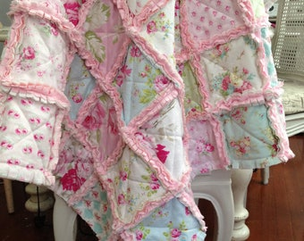 SHABBY CHIC 'One of a Kind 'Tanya Whelan stylish Toddler/ Minky Dot Quilt/Blanket+ Toddler pillowcase.