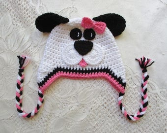 Pink, Black and White Crochet Puppy Hat - Winter Hat or Photo Property - Available in Any Size or Color Combination