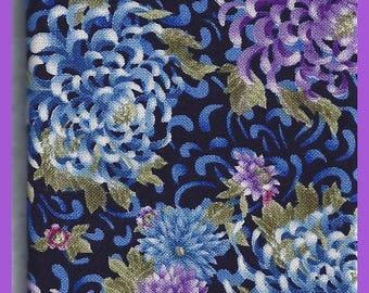 Blue Purple Giant MUMS FAT Quarter Cotton Fabric