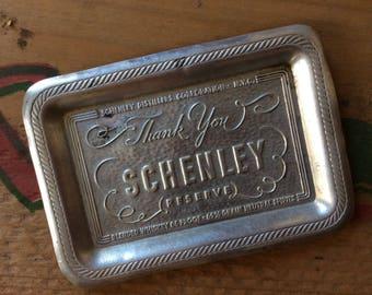 Schenley vintage aluminum tip tray, Schenley distillers New York City, Schenley reserve, servers tip tray,vintage hammered aluminum tray