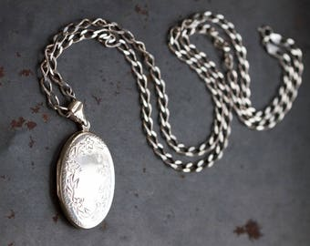 Large Locket Necklace - Sterling Silver Oval Photo Keepsake Pendant on Long Chain - Made in Italy