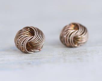 Silver Knots Earrings - Sterling Silver Stud Earrings - Vintage Nautical Jewelry