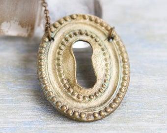 Keyhole Necklace - Oval Escutcheon - Skeleton Key Hole Medallion on Long chain - Re Purposed Boho Jewelry