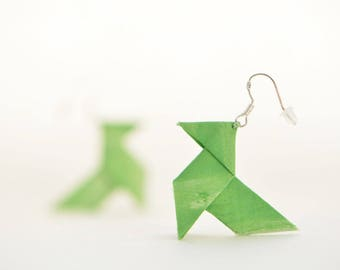 Sterling silver green origami earrings
