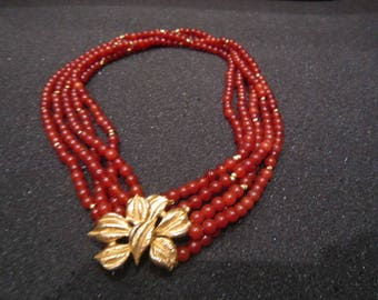 Beaded Coral Choker with Flower Pendant