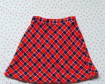 50%DISCOUNT 70s children vintage mod red white navy checkered wool skirt 6 yrs