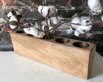 Farmhouse Wood Sugar Mold Decorative Wooden Table Decor Candle Holder Center Piece
