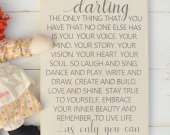 Darling As Only You Can - As Only You Can Sign - Girl Wood Sign - Girl Room Wall Decor - Inspirational Girl Sign - Nursery Wall Art