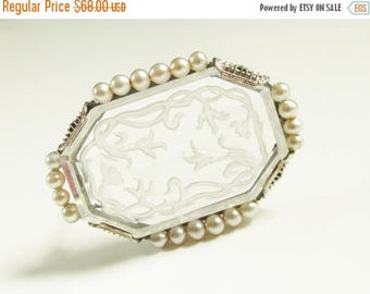 ON SALE Antique Vintage Krementz Intaglio Rock Crystal Brooch Art Nouveau