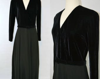 1980s Black Velour Bodice, Long Sleeve Formal Dress by Chetta B, Sherrie Bloom, Peter Noviello