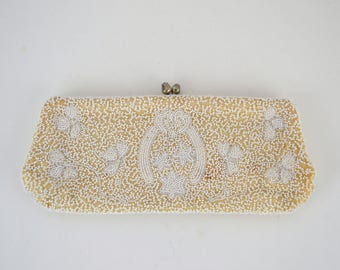 1950s White Seed Bead Clutch, Three Leaf Clovers, Horseshoe Design by Walborg