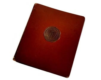 Vintage USC Trojans Leather 3 Ring Binder University of California 1940's Binder USC Insignia Trussell Leather Binder