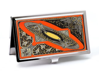 Art Deco Style Business Card Case, Deco Moderne Business Card Holder, Retro Style Black and Orange Business Card Case or Metal wallet