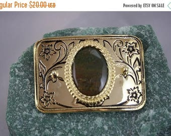 Christmas In July - Jasper Rectangle Bright Gold Plated Belt Buckle - Item 1835