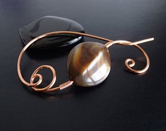 Shawl Pin, Scarf Pin, Copper pin, Wire Wrapped brooch, Artisan Jewelry