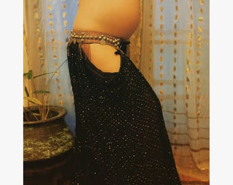LILLYLOONS:. Black sheer sequinned and embroidered pantaloons with cutouts for tribal or tribal fusion bellydance.