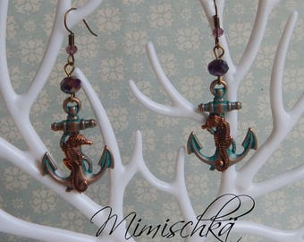 earrings anchor and sea horse