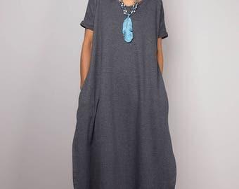 Grey dress, a line dress, mid length gray dress, short sleeved dress, grey tube dress, grey maxi dress, split dress