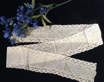 Vintage Wide Ivory Cotton  Lace, Vintage Wedding Lace, Bridal Lace, Vintage Lace Edging