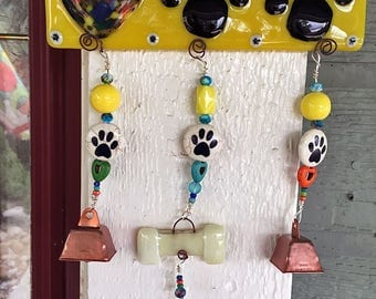 Glass fusion I love paws sun catcher wind chime