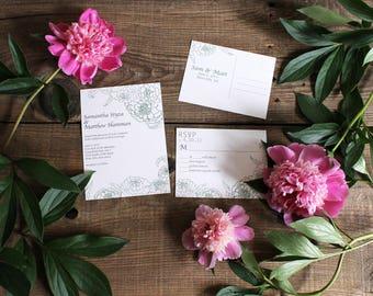 floral peony wedding invitation set - 50 invitations and RSVP postcards