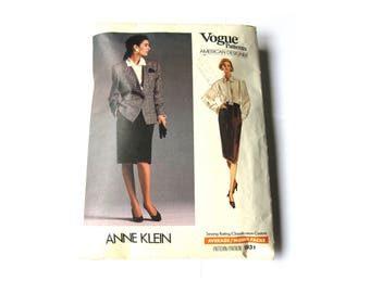 Sewing Pattern Blazer Blouse Pencil Skirt Vogue Anne Klein 80s Broad Shoulders Size Small Uncut 1931
