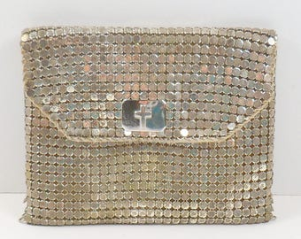 Whiting Davis Silver Metal Mesh Rosary Pouch Coin Purse Signed Religious Catholic Crucifix Mesh Mates Change Purse First Communion Vintage