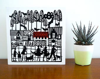 Hillside Village paper cut, collage, people, buildings, framing alternative, contemporary wall art, black and white art, ready to hang art