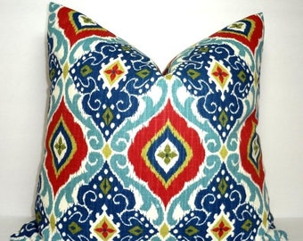 FALL is COMING SALE Red & Blue Ikat Print Pillow Cover Decorative Diamond Floral Ikat Design Pillow Cover Size 18x18