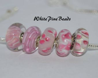 Pink Murano Glass Lampwork Beads  5 PC Set    fits European  Charm Bracelets WhitePineBeads