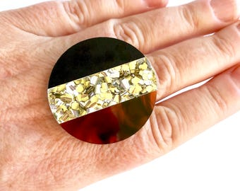 Round Split Ring - Black, Tortoise, Gold Glitter - Each To Own Original - Mod Design Mid Century Statement Ring Large
