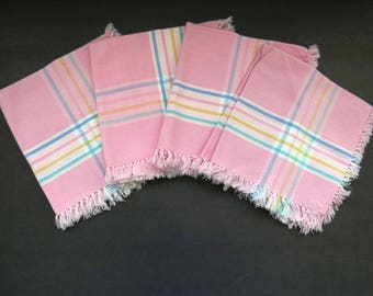 Pastel Pink Napkins - Set of 4 - Pink Blue Yellow Green Stripes - Vintage Table Linens - Collectible - Picnic Basket Camping RVs Glamping