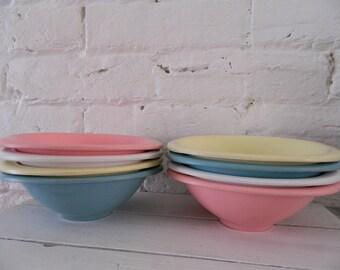 Vintage Set Of 8 Multi Color Boontonware